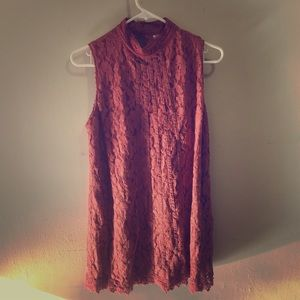 Dusty Rose lace overlay dress.